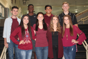 """Homecoming court 2015 nominees for king and queen are back row from left, Luke Luedecke, Sadavion """"DaDa"""" Matthews, George Flores and Colt Collins; front row, Jouslyne Peinado, Camerin Edmonds, Jessi Petty and Lindsey Tarby."""