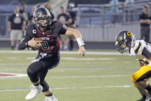 Colt Collins finds some wide open running room against Crandall during Homecoming at Jackie Hendricks Stadium.