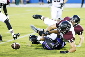 A QB sack by Dylan Templeman and Danny Boyles results in a fumble by Frisco QB Kyle Saddler, and recovered by the Panthers