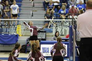 Raygan Cook goes for the kill near the net at Van Alstyne