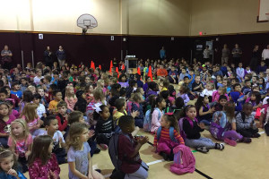 """The Lacy Elementary Kind Kids Club presented its """"Kindness Boomerang"""" video in an assembly to kick-off to """"Anti-Bullying Month"""" where students were encouraged to spread kindness.  The video may be seen on YouTube by searching """"Kindness boomerang Lacy Elementary."""""""