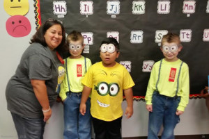 Mrs. Saucedo's class shows that drugs are despicable. From left is Mrs. Saucedo, Cole Smith, Juan Arroyo and Glenn Smith.