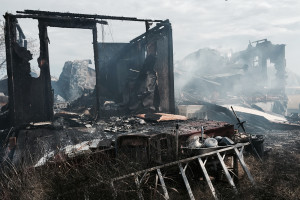 The ruins of a manufactured home sit near 1827 after a fire injured one Nov. 7.