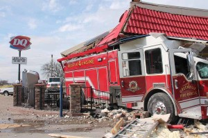 A Greenville FD Fire Engine drove through the Farmersville Dairy Queen Jan. 20. No one was seriously hurt in the wreck.