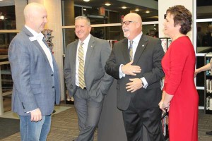 Collin County Commissioner Chris Hill spends time with Princeton city officials including City Manager Derek Borg, Mayor John-Mark Caldwell and School Board Trustee Lisa Caldwell at the inaugural Meet and Greet event Jan. 28.