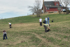 Volunteers of all ages help pick up debris scattered throughout pastures after the Dec. 26 tornadoes.