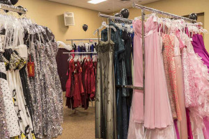A sea of prom dresses is available at the Princess Prom project.