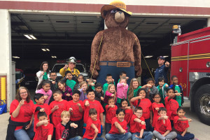 Students from Godwin Elementary School recently toured the Princeton Fire Station and met a huge Smokey Bear. They learned about fire safety from local firefighters.