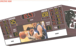 An example design of what the video scoreboard may look like for the new Princeton High School gymnasium. Courtesy of Spectrum.