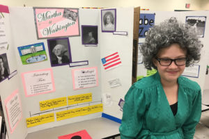Tara Foster dressed as Martha Washington during Godwin Elementary's fifth grade ELAR class hosted a Historical Figures Museum on  April 27.  Fifth grade students were required to research a historical figure and write a research paper.  Students then dressed up as their historical figure. They created a visual and gave a speech to students about their characters life. For additional photos see the May 5 issue and the e-Edition.
