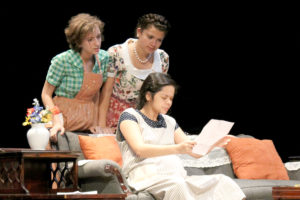 Playing the roles of three married sisters-in-law were, seated, Megan Garcia, and standing, from left, Brookilyn Gilbert and Dani Rios.