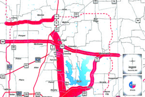 An illustration of where the Limited Access Roadways would be expanded throughout Collin County.