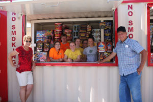 Joann and Alvin Lafon, owners of Lafon's Fireworks, are joined by their employees back row from left, Bobby Mack, Kenneth Blanks Jr., Raeghan Bales, Kacie Phillips, front row, Releigh Mack, Kensey Thomas and Maura Korchak.