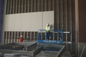Sheetrock is put up in the new cafeteria addition which is anticipated to be finished in October.