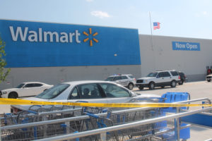 Crime scene tape secures the area in front of the Princeton Walmart after a stabbing injuring multiple victims occurred July 13.