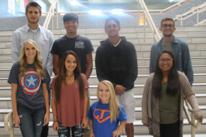 Senior Homecoming King nominees are back row from left, Bradley Torres, Stevan Molina, Kai Brinkerhoff, Hunter Peacher; Queen nominees are Kaylah Segleski, Danielle Rodriguez, Ginger Phennel and Maggie Guapo.