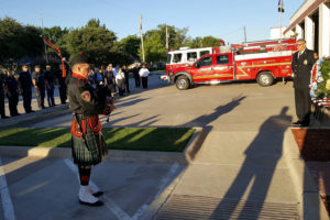 Josephine Fire/Rescue First Responder and piper David Fox performs Amazing Grace at the Princeton 9/11 ceremony at the fire department Sept. 11.