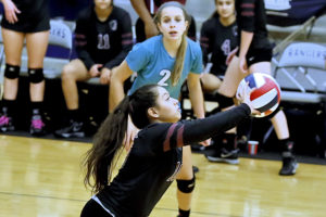 Princeton's Iris Carrillo controls a hard serve from the backcourt last Thursday against Argyle in a Class 4A Region II area match at Frisco Lone Star High School. For the story and additional photos see this week's Sports.