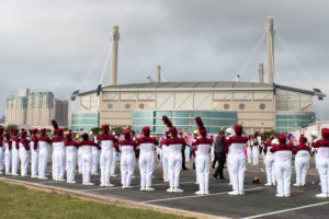 The Princeton Panther Pride Marching Band prepares for the State Marching competition at the Alamodome in San Antonio. They received third place at the competition. Photo courtesy Mandy Duncan.