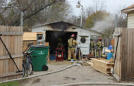 Shed ignites in flames