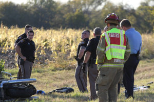 First responders spent time on Thanksgiving Day working a fatality accident involving a motorcycle on FM 1827. Photo courtesy of Michael O'Keefe/First Response Photography.