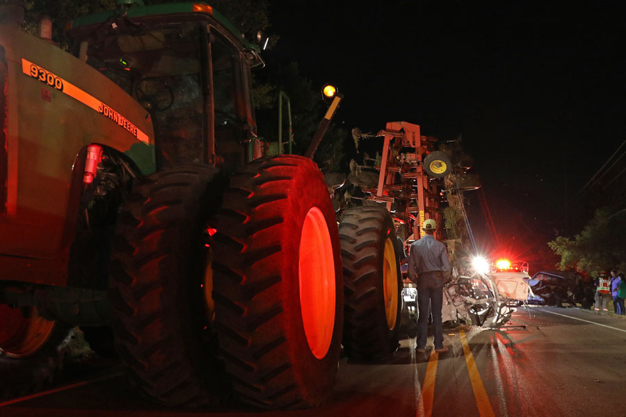 Tractor, pickup wreck hospitalized one