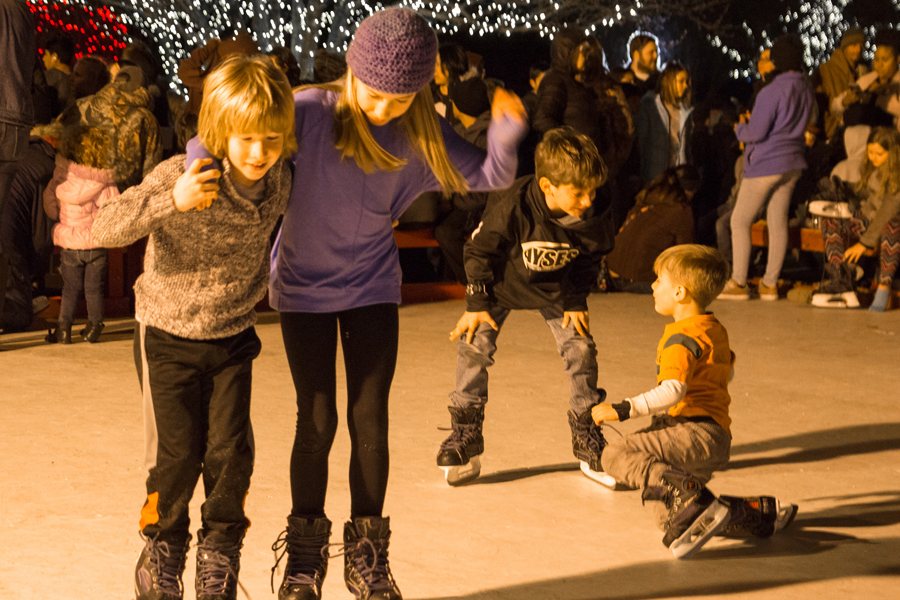 Free ice skating, movie in the park tomorrow