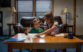 Mom and son study together